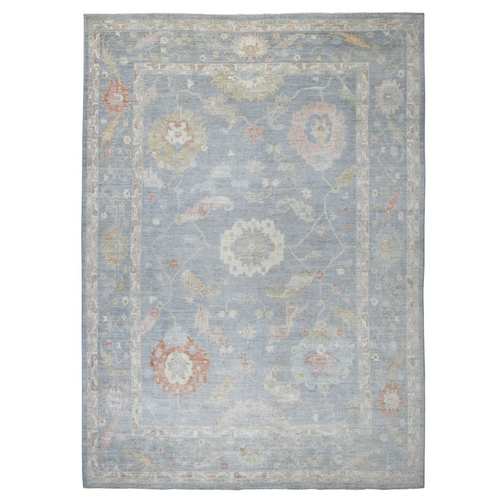 Blue Angora Oushak With Soft Wool Hand Knotted Oriental