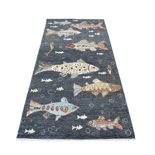 Charcoal Black Oceanic Fish Design Afghan Peshawar Pure Wool Wide Runner Hand Knotted Oriental