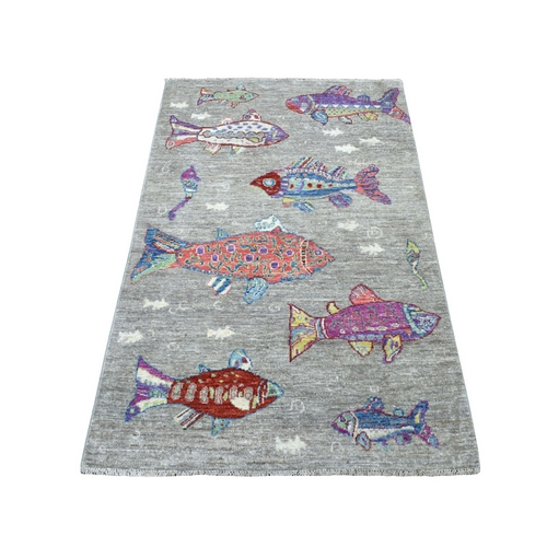 Oceanic Fish Design Organic Wool Afghan Peshawar Hand Knotted Oriental Rug
