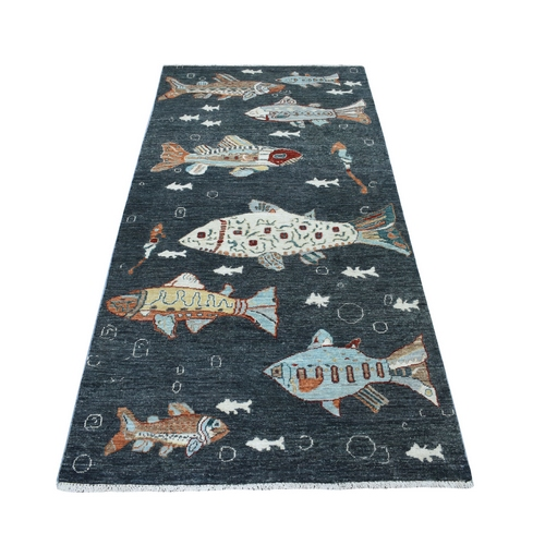 Charcoal Black Oceanic Fish Design Peshawar Natural Wool Wide Runner Hand Knotted Oriental