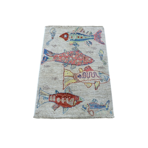 Oceanic Fish Design Natural Wool Afghan Peshawar Hand Knotted Oriental Rug