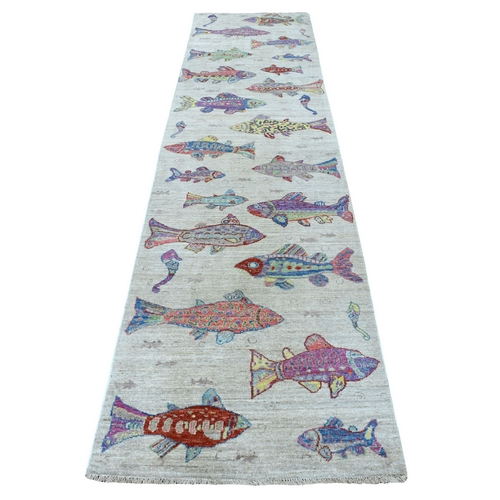Oceanic Fish Design Natural Wool Peshawar Runner Hand Knotted Oriental Rug