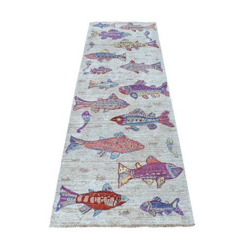 Oceanic Fish Design Natural Afghan Wool Peshawar Runner Hand Knotted Oriental Rug