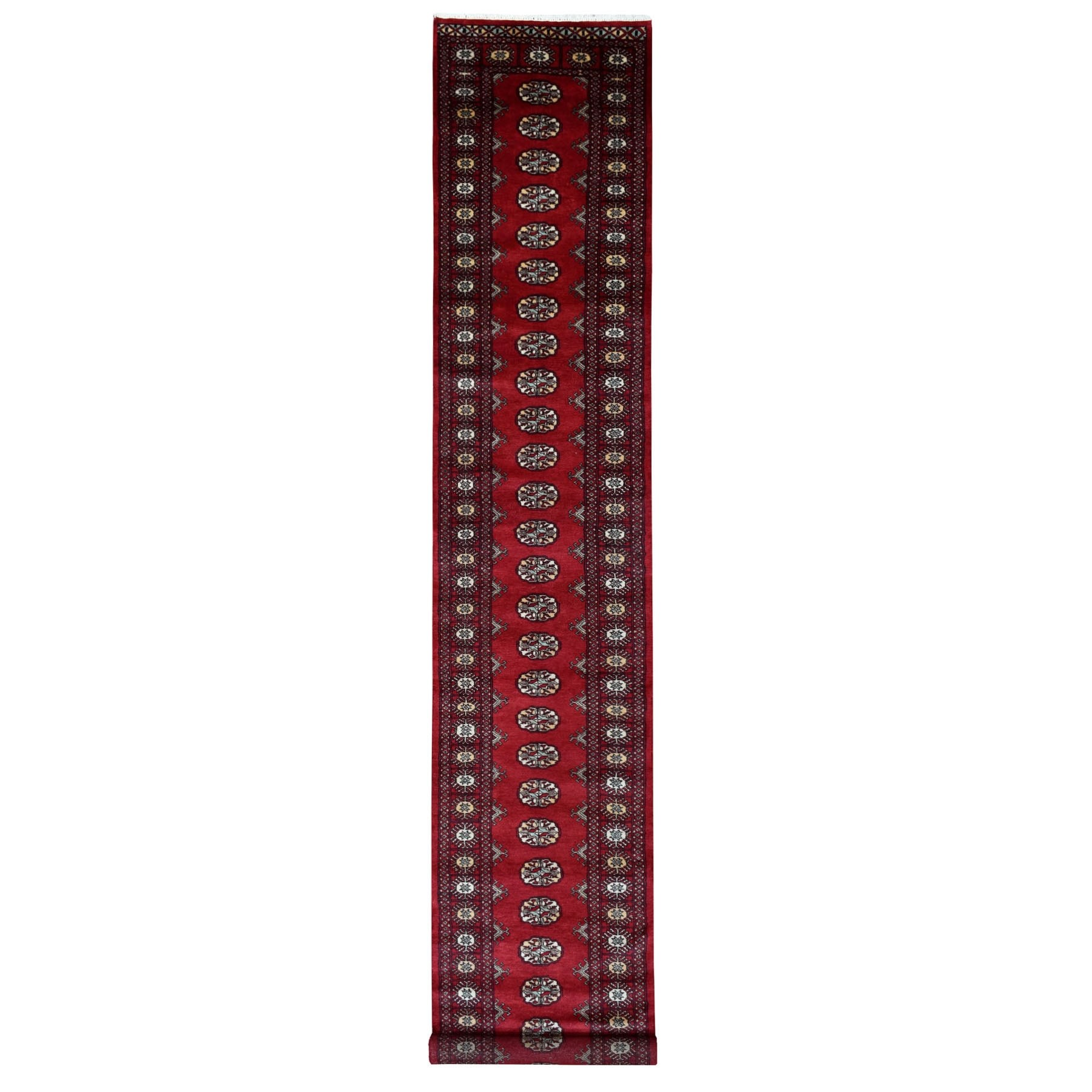 Red Elephant Feet Design Mori Bokara XL Runner Natural Wool Hand Knotted Oriental Rug