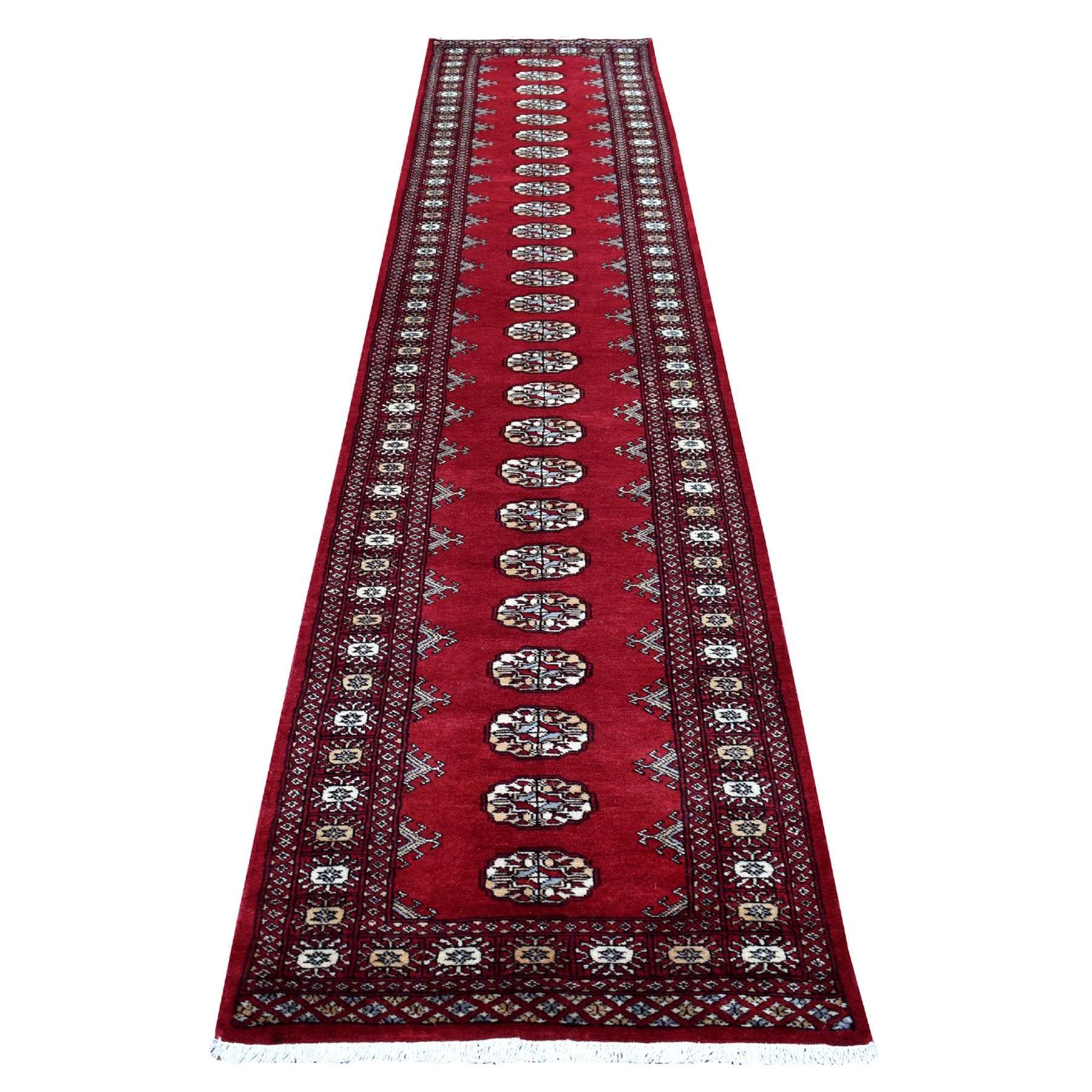 Red Bokara Elephant Feet Design Hand Knotted Runner Afghan Wool Oriental Rug