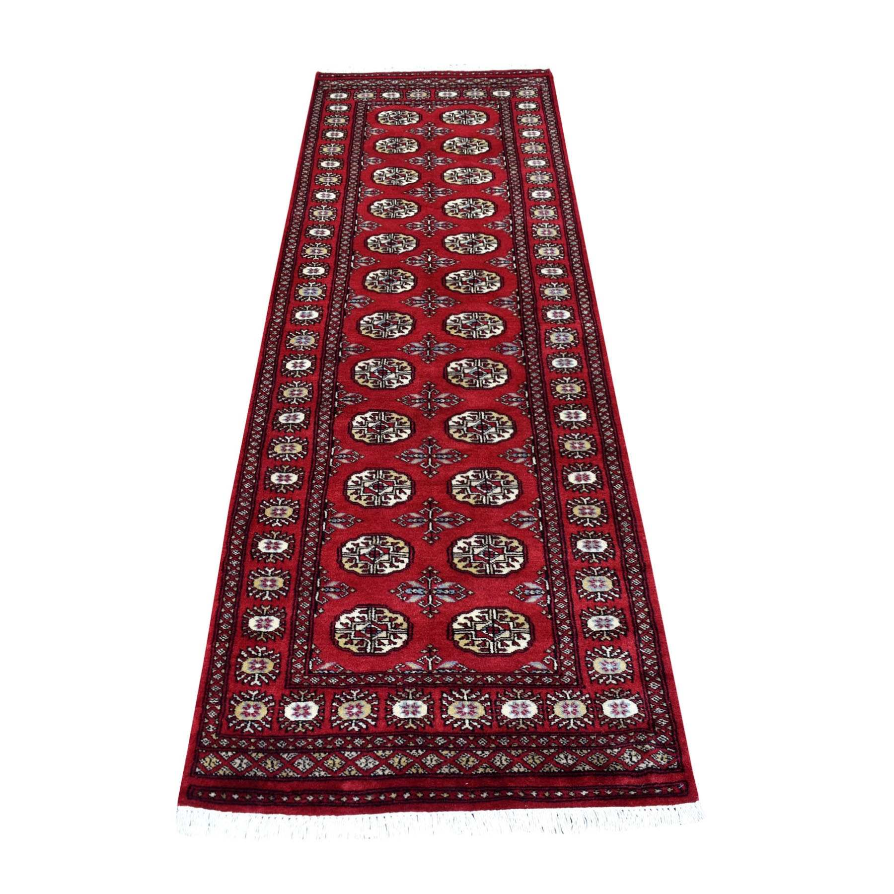 Red Mori Bokara Elephant Feet Design Afghan Wool Hand Knotted Runner Oriental Rug
