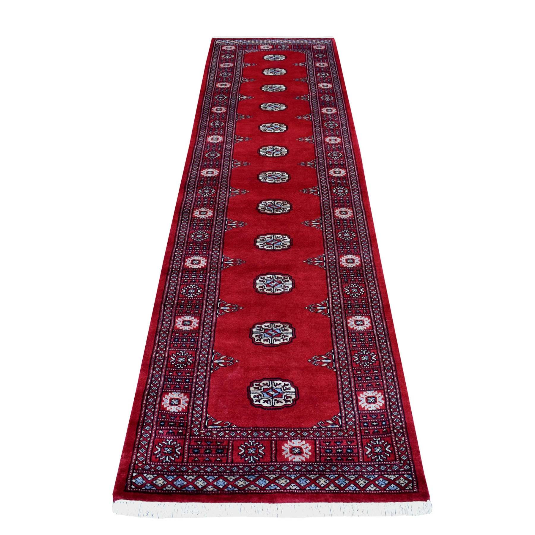 Red Mori Bokara Elephant Feet Design Natural Wool Hand Knotted Runner Oriental Rug