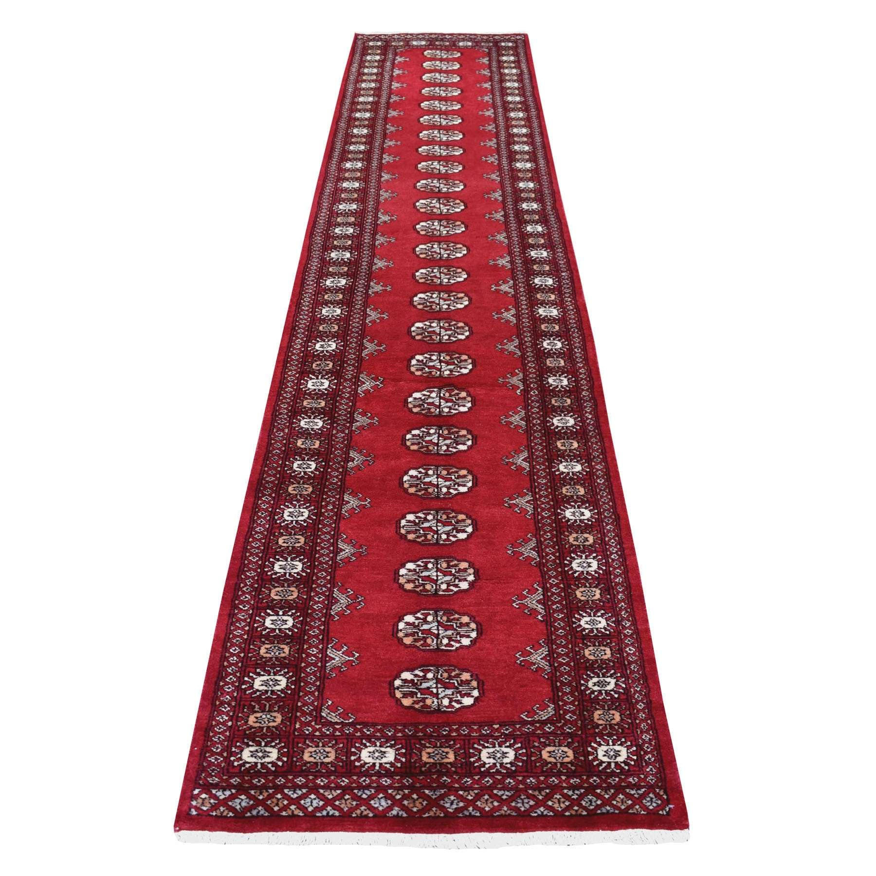 Red Mori Bokara Elephant Feet Design Afghan Wool Runner Hand Knotted Oriental Rug