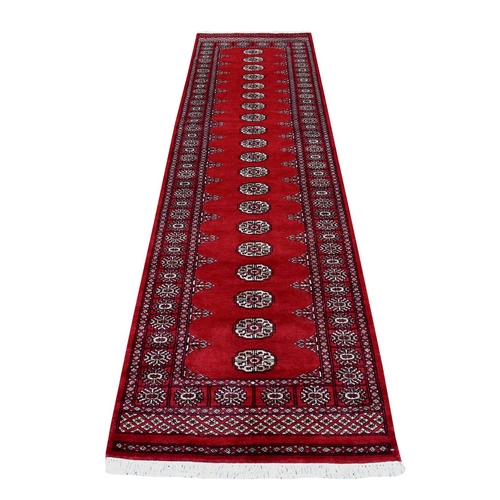 Red Mori Bokara Elephant Feet Design Runner Natural Wool Hand Knotted Oriental Rug