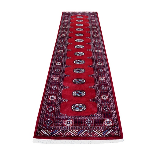 Red Elephant Feet Design Mori Bokara Runner Hand Knotted Organic Wool Oriental Rug
