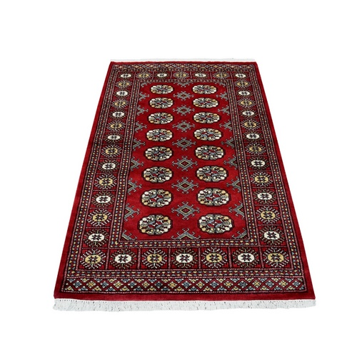 Red Mori Bokara Elephant Feet Design 100% Wool Hand Knotted Oriental Rug