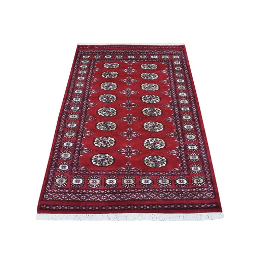 Red Elephant Feet Design Mori Bokara Pure Wool Hand Knotted Oriental Rug