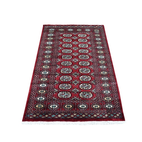 Red Mori Bokara Elephant Feet Design Natural Wool Hand Knotted Oriental Rug