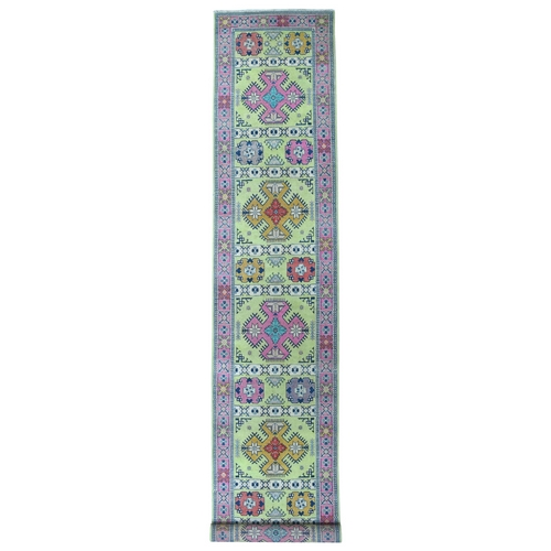 Colorful Fusion Kazak Geometric Design XL Runner Hand Knotted Rug