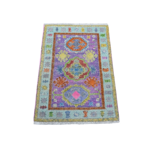 Purple Fusion Kazak Natural Wool Hand Knotted Mat Oriental
