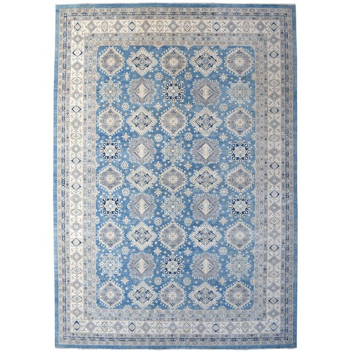 Oversized Blue Vintage Look Kazak Hand Knotted Natural Wool Oriental