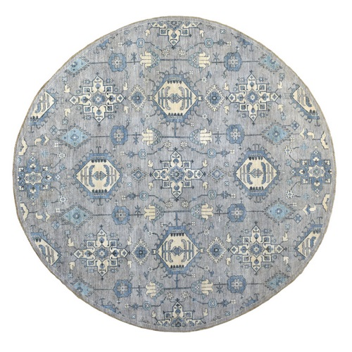 Round Gray Peshawar With Karajeh Design, Touches Of Blue Pure Wool Hand Knotted Oriental