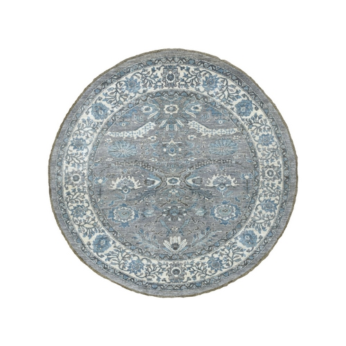 Gray Afghan Peshawar with Ziegler Mahal Design Natural Wool Hand Knotted Round Oriental