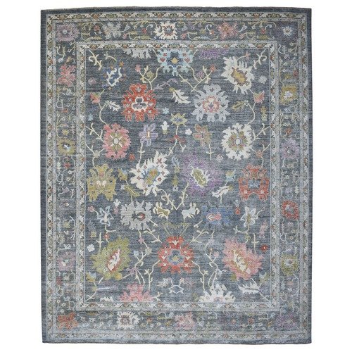 Dark Gray Angora Oushak With Floral Motifs Pure Wool Hand Knotted Oriental Oversize