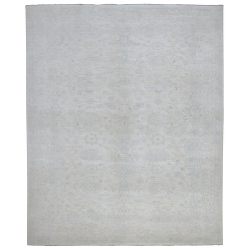 Oversize White Wash Peshawar Natural Wool Hand Knotted Oriental