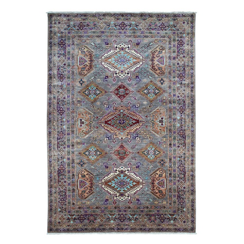 Blue Hand-Knotted Pure Wool Geometric Design Super Kazak Oriental