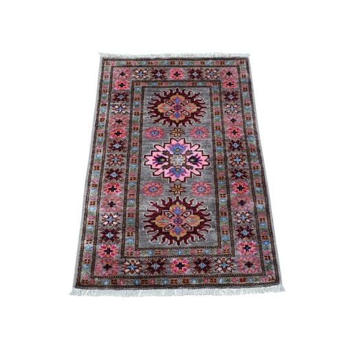 Taupe Super Kazak Tribal Design Pure Wool Hand-Knotted Oriental Rug