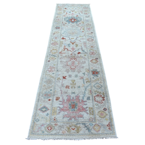 Gray Angora Oushak, Soft To The Touch Wool Pile Hand Knotted Oriental Runner
