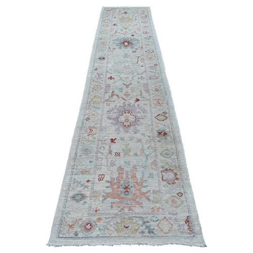 Hand Knotted Gray Angora Oushak With Soft Velvety Wool Oriental Runner Rug