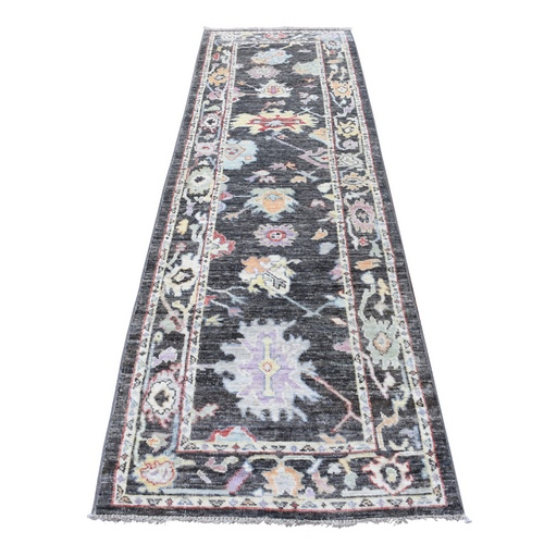 Charcoal Black Angora Oushak Pliable Wool Wide Runner Hand Knotted Oriental Rug
