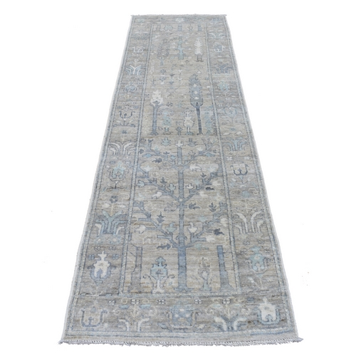 Gray Angora Oushak with Soft Colors Hand Knotted Glimmery Wool Wide Runner Oriental Rug