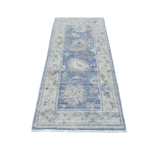 Softy and Supple Wool Denim Blue Wide Runner Angora Oushak Hand Knotted Oriental Rug