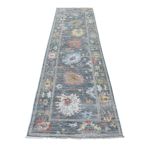 Angora Oushak with Large Motifs, Soft To The Touch Wool Pile Charcoal Gray Hand Knotted Runner Oriental Rug
