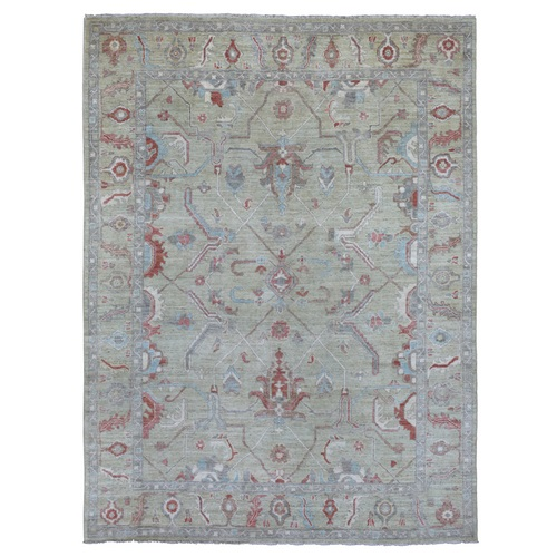 Washed Out Hand Knotted Light Green Angora Oushak Soft and Supple Wool Oriental Rug