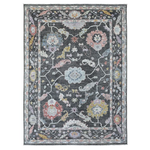 Charcoal Black Hand Knotted Angora Oushak with Floral Motifs Soft and Supple Wool Oriental Rug