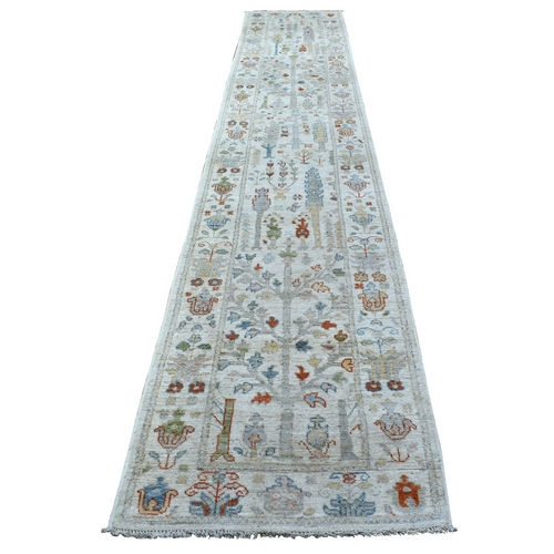 Ivory Soft and Vibrant Wool Hand Knotted Angora Oushak with Tree Design XL Runner Oriental Rug