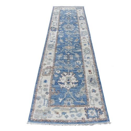 Denim Blue Angora Oushak with Soft and Vibrant Wool Hand Knotted Runner Oriental Rug