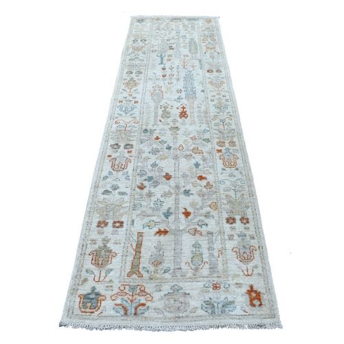 Softy and Supple Wool Ivory Tree Design Wide Runner Angora Oushak Hand Knotted Oriental Rug