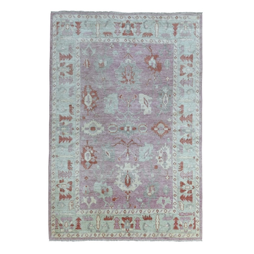 Pink Angora Oushak Pliable Wool with Large Motifs Hand Knotted Oriental Rug