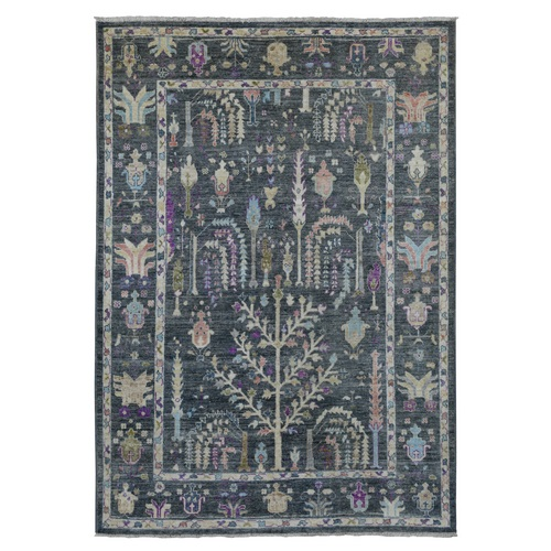 Hand Knotted Charcoal Gray Angora Oushak with Soft Velvety Wool Oriental Rug
