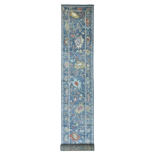 Denim Blue Angora Oushak with Soft Colors Velvety Wool Hand Knotted Oriental XL Runner Rug