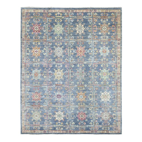 Garden Design Angora Oushak with Soft and Vibrant Wool Denim Blue Hand Knotted Oriental Rug