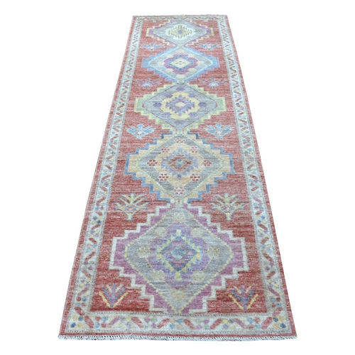 Geometric Medallions Design Angora Oushak Red with Pop of Colors Brilliant Wool Hand Knotted Wide Runner Oriental Rug