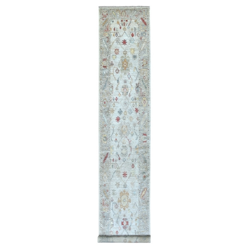 Gray Angora Oushak With Soft Colors Pure Wool Hand Knotted Oriental XL Runner