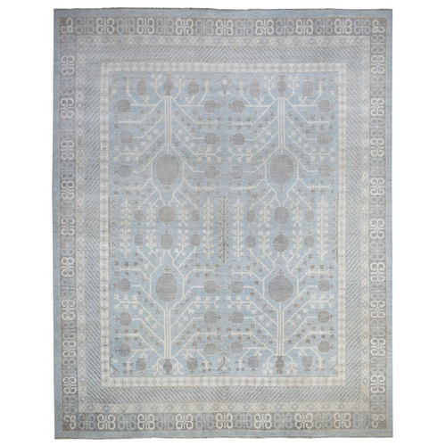 Blue White Wash Peshawar With Samarkand Design Natural Wool Hand Knotted Oriental