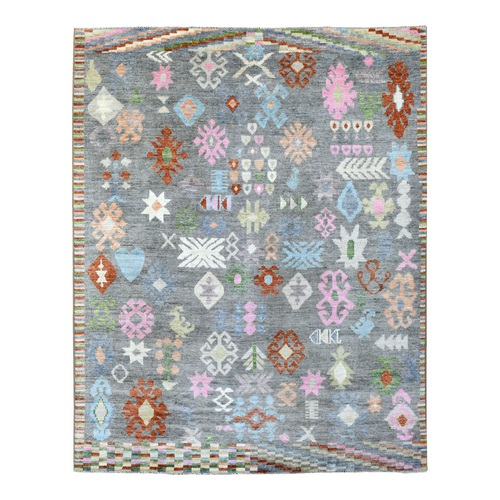 Colorful Pliable Wool Hand Knotted Tribal Design Angora Oushak Oriental Rug