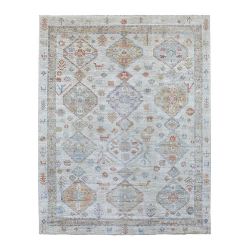 Tribal Design Sun Dried Wool Hand Knotted Angora Oushak Ivory Oriental Rug