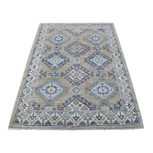 Taupe with Anatolian Design Glimmery Wool Hand Knotted Oriental Rug