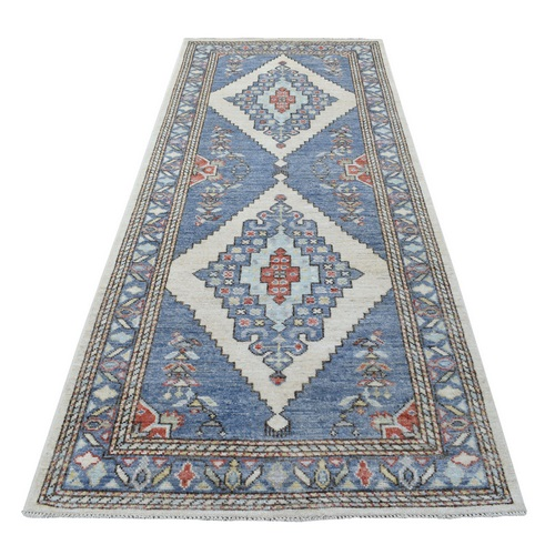 Medallion Design Angora Oushak with Softy and Supple Wool Denim Blue Wide and Narrow Runner Hand Knotted Oriental Rug