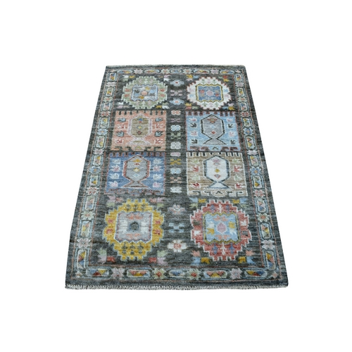 Charcoal Gray Angora Oushak with Softy and Supple Wool Anatolian Design Hand Knotted Oriental Rug