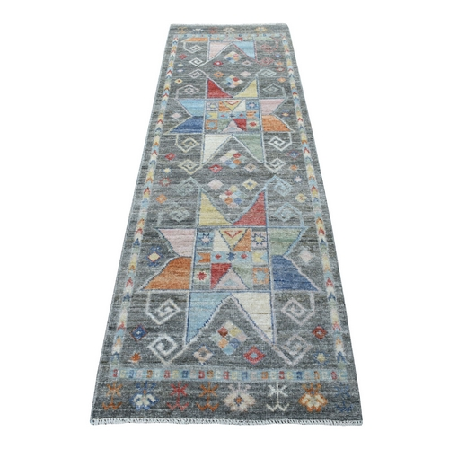 Anatolian Design Soft Wool Angora Oushak Charcoal Black with Pop of Colors Hand Knotted Runner Oriental Rug